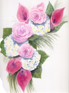 Watercolor Wedding Bouquet